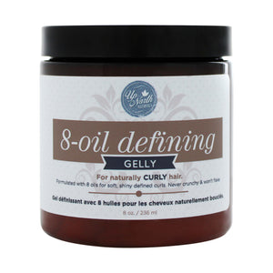 Front image of 8-oil defining gelly for naturally curly hair