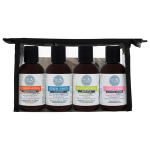 Front image of mini bundle products including the mini tlc replenishing conditioner, mini clean curls cleanser, mini go-2 hydrating milk, mini curl ease styling lotion in the included carrying case