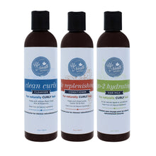 Load image into Gallery viewer, Front image of wash day trio products including clean curls cleanser, tlc replenishing conditioner and go-2 hydrating hair milk for naturally curly hair