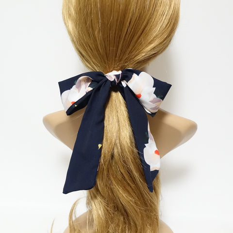 big flower print bow ponytail holder