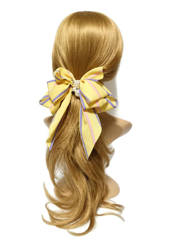chiffon stripe print hair bow