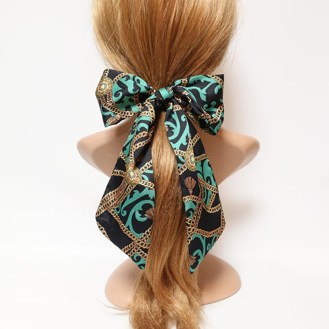 satin pattern lace tail hair bow