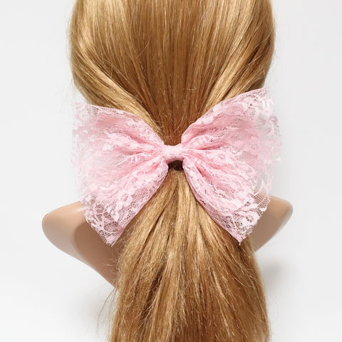 floral lace layered hair bow