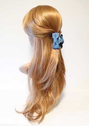 denim bow small hair claw