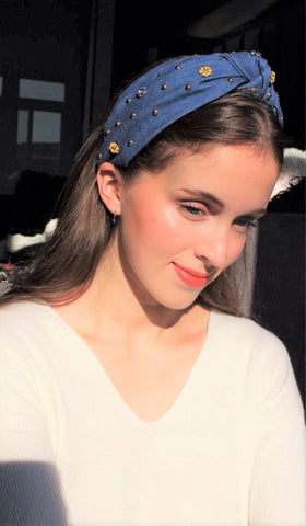 denim rhinestone embellished headband