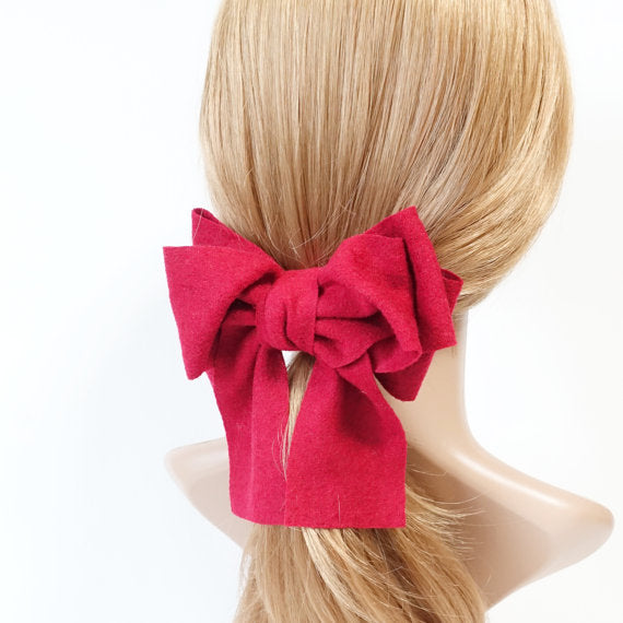 handmade woolen tail bow french hair barrette
