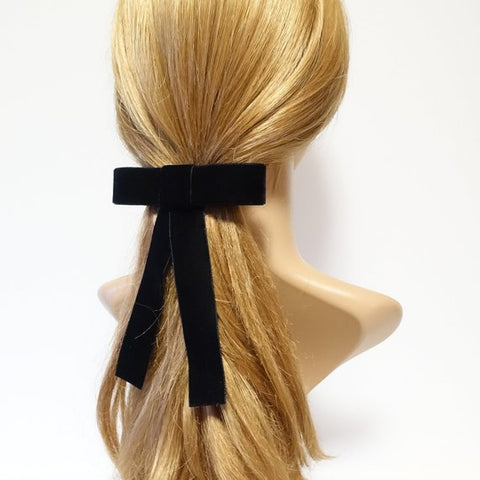 black velvet ribbon bow hair barrette
