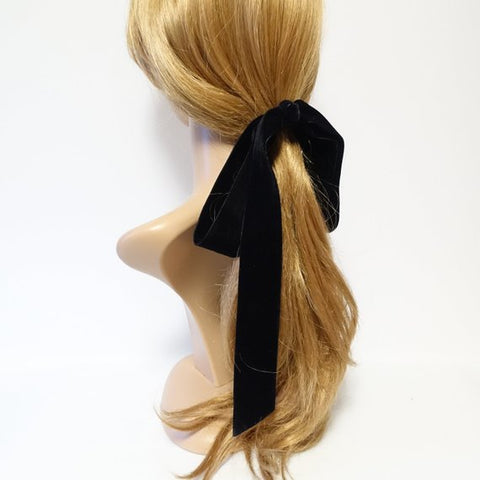 long tail velvet ribbon bow ponytail hair clip
