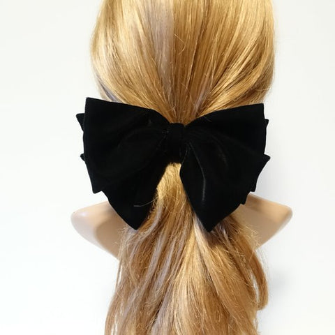 silk velvet layered hair bow barrette