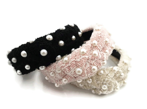 tweed pearl headband