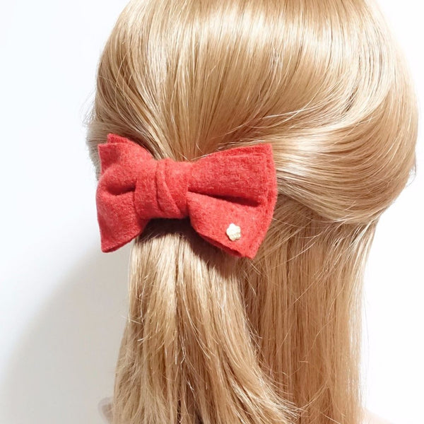 woolen bow french barrette