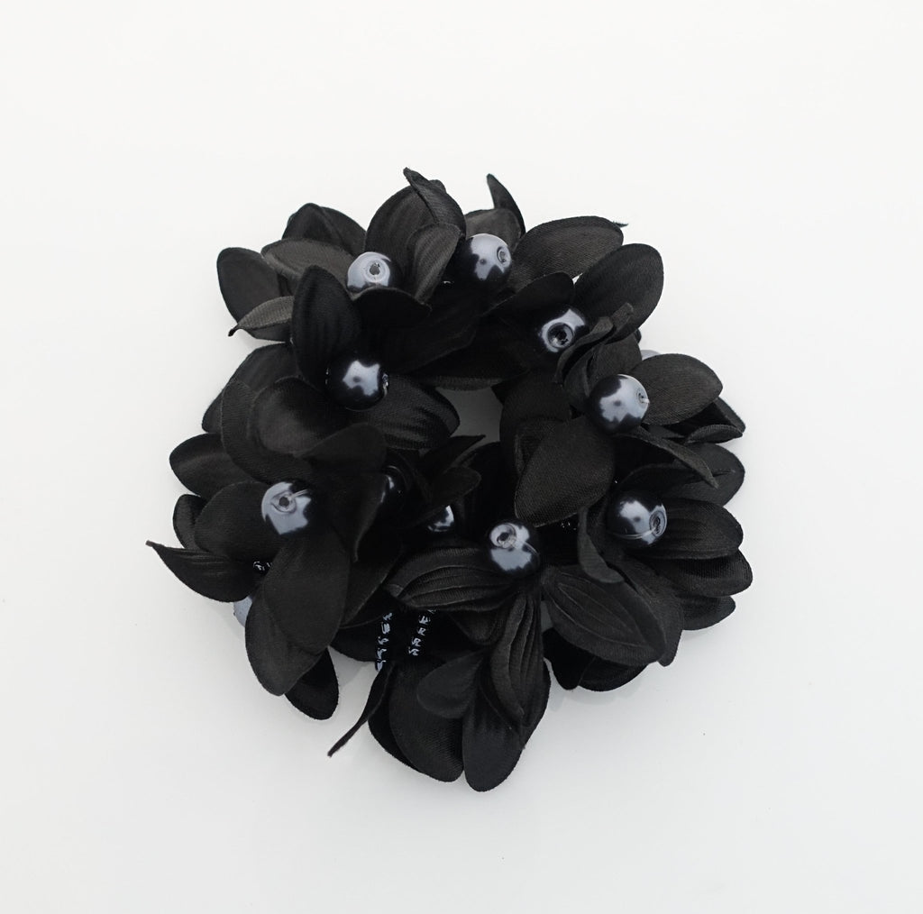 """Handmade"" scrunchies/hair holder Black pearl flower beaded hair elastic ponytail holder decorated elastic band hair tie scrunchies"