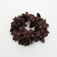 """Handmade"" scrunchies/hair holder Brown pearl flower beaded hair elastic ponytail holder decorated elastic band hair tie scrunchies"