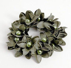 """Handmade"" scrunchies/hair holder Khaki pearl flower beaded hair elastic ponytail holder decorated elastic band hair tie scrunchies"