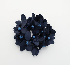 """Handmade"" scrunchies/hair holder Navy pearl flower beaded hair elastic ponytail holder decorated elastic band hair tie scrunchies"