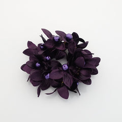 """Handmade"" scrunchies/hair holder Purple pearl flower beaded hair elastic ponytail holder decorated elastic band hair tie scrunchies"