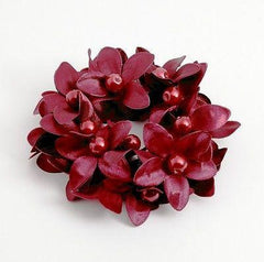"""Handmade"" scrunchies/hair holder Red pearl flower beaded hair elastic ponytail holder decorated elastic band hair tie scrunchies"