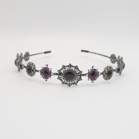 baroque pattern rhinestone embellished metal thin headband
