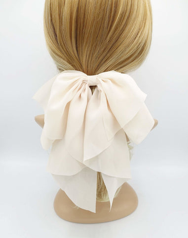 chiffon droopy hair bow sheer hair accessory for women