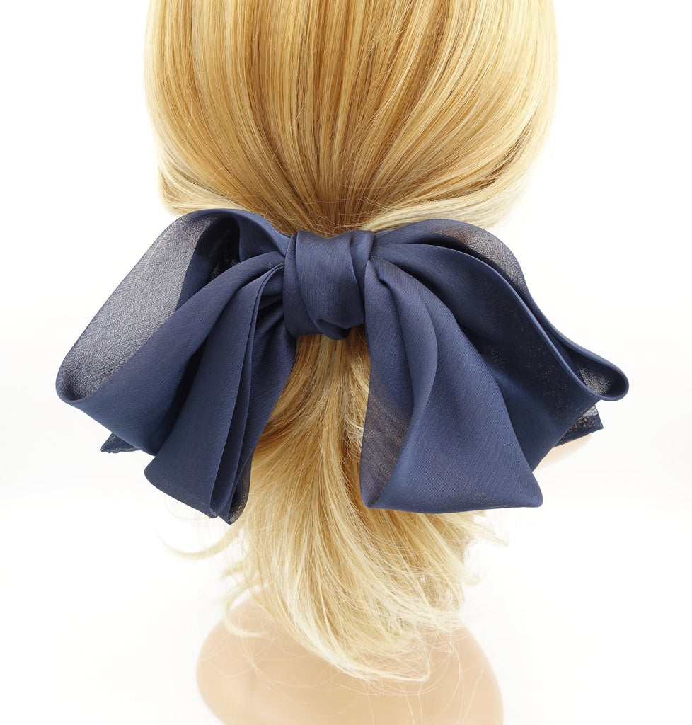 VeryShine big silk chiffon hair bow double layered droopy bow hair stylish hair accessory for women