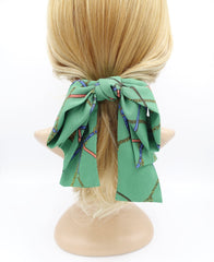 VeryShine chain strap print chiffon hair bow big layered tail bow stylish hair accessory for women