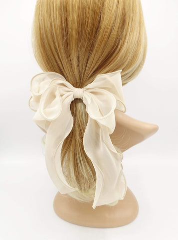 chiffon lettuce hem layered hair bow for women