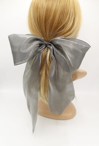 organza solid dot hair bow giant stylish hair accessory for women