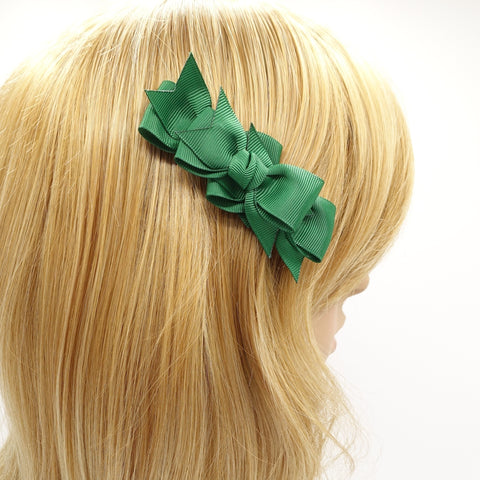 3 mini grosgrain bow decorated 2 prong hair clip women hair accessory