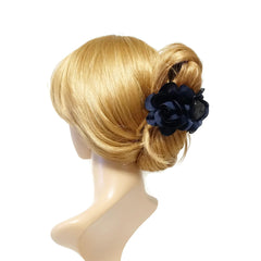 VeryShine claw/banana/barrette navy Handmade 3 prong Flower Floral  Lovely Long Height Hair Jaw  Claw Clip