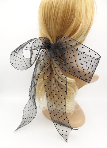 organza dot hair bow giant stylish hair accessory for women