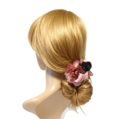 VeryShine claw/banana/barrette pink Handmade 3 prong Flower Floral  Lovely Long Height Hair Jaw  Claw Clip