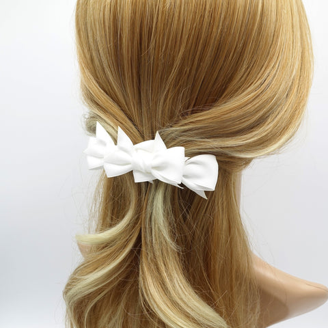 3 mini satin bow decorated 2 prong hair clip women hair accessory