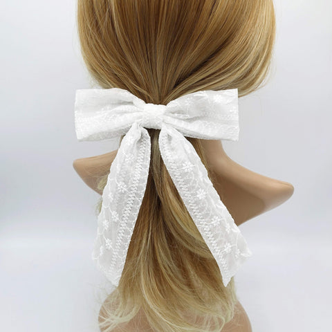 flower embroidered tail hair bow cute hair accessory for women