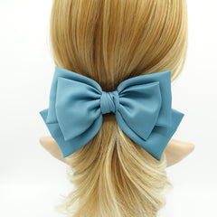 veryshine.com Barrettes & Clips Blue green triple satin hair bow moderate style hair accessory for women