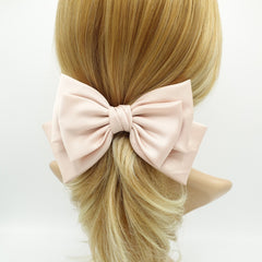 veryshine.com Barrettes & Clips Light pink triple satin hair bow moderate style hair accessory for women