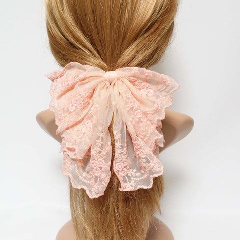 floral lace drape bow translucent mesh bow hair accessory for woman