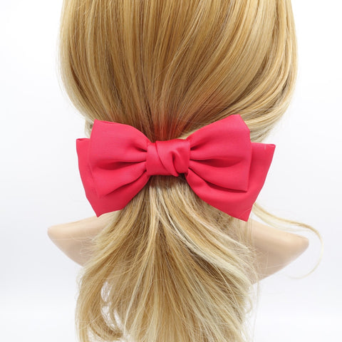 basic satin hair bow regular size layered bow hair accessory for women
