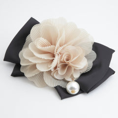 veryshine.com claw/banana/barrette beige Handmade Chiffon Pleated Flower Black Bow French Hair Barrettes