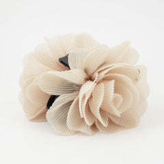 veryshine.com claw/banana/barrette Beige Pleat Petal Dahlia Flower Hair Jaw Claw
