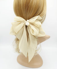 veryshine.com claw/banana/barrette Beige pleated chiffon hair bow pearl embellished long tail french barrette women hair accessory