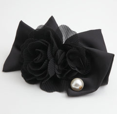 veryshine.com claw/banana/barrette black Handmade Chiffon Pleated Flower Black Bow French Hair Barrettes