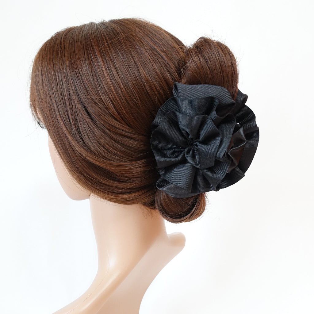 veryshine.com claw/banana/barrette Black Handmade Grosgrain Flower Bow Two Tone Hair Jaw Claw Clip