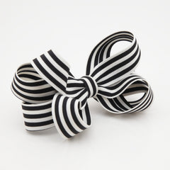 veryshine.com claw/banana/barrette Black Handmade Stripe Butterfly Loop Bow French Barrettes Women Hair Accessories