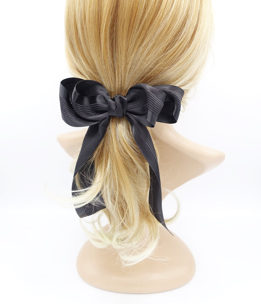 veryshine.com claw/banana/barrette Black long tail layered hair bow corrugated stripe bow french hair barrette