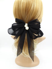 veryshine.com claw/banana/barrette Black pleated chiffon hair bow pearl embellished long tail french barrette women hair accessory