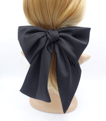 veryshine.com claw/banana/barrette Black satin giant hair bow french barrette wide tail oversized women hair accessory