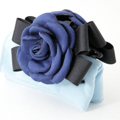 veryshine.com claw/banana/barrette Blue handmade camellia Flower Bow Hair Jaw Clip