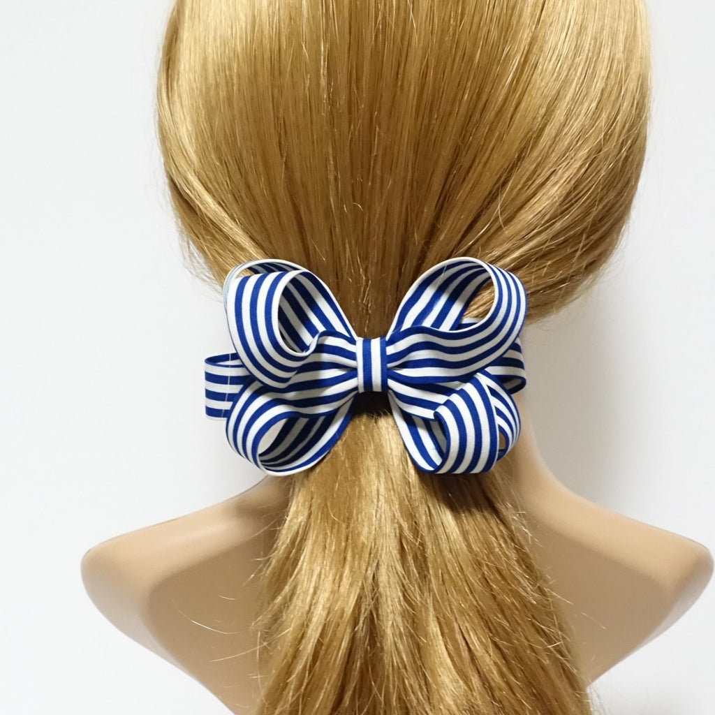 veryshine.com claw/banana/barrette Blue Handmade Stripe Butterfly Loop Bow French Barrettes Women Hair Accessories