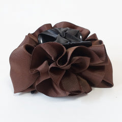 veryshine.com claw/banana/barrette Brown Handmade Grosgrain Flower Bow Two Tone Hair Jaw Claw Clip