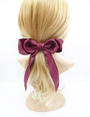 veryshine.com claw/banana/barrette Burgundy long tail layered hair bow corrugated stripe bow french hair barrette
